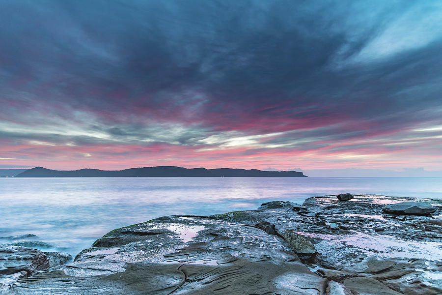 High Cloud Pink Dawn Seascape from Rock Platform by Merrillie Redden