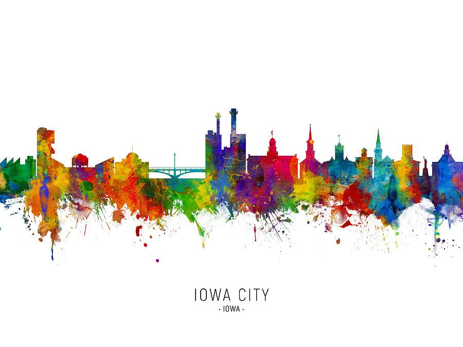 Iowa City Digital Art - Iowa City Iowa Skyline by Michael Tompsett