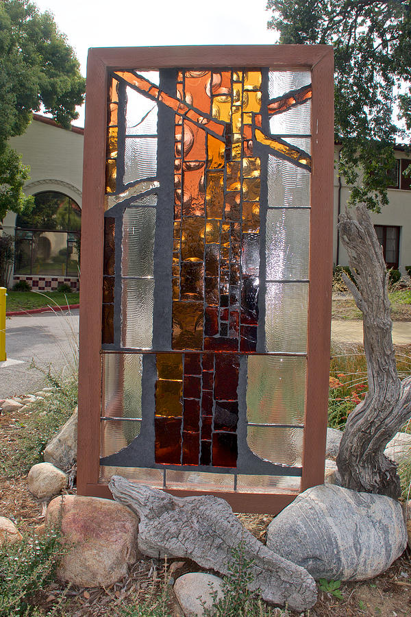 California Photograph - Keiko Miura Stained Glass Panel at Pilgrim Place in Claremont, California by Ruth Hager