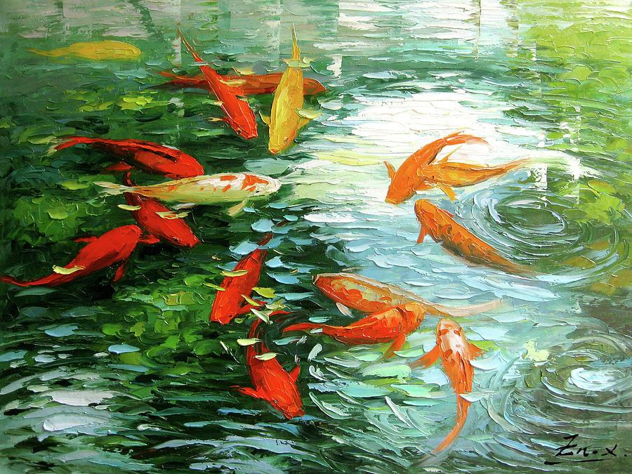 Koi Painting -  Koi Fish by Enxu Zhou