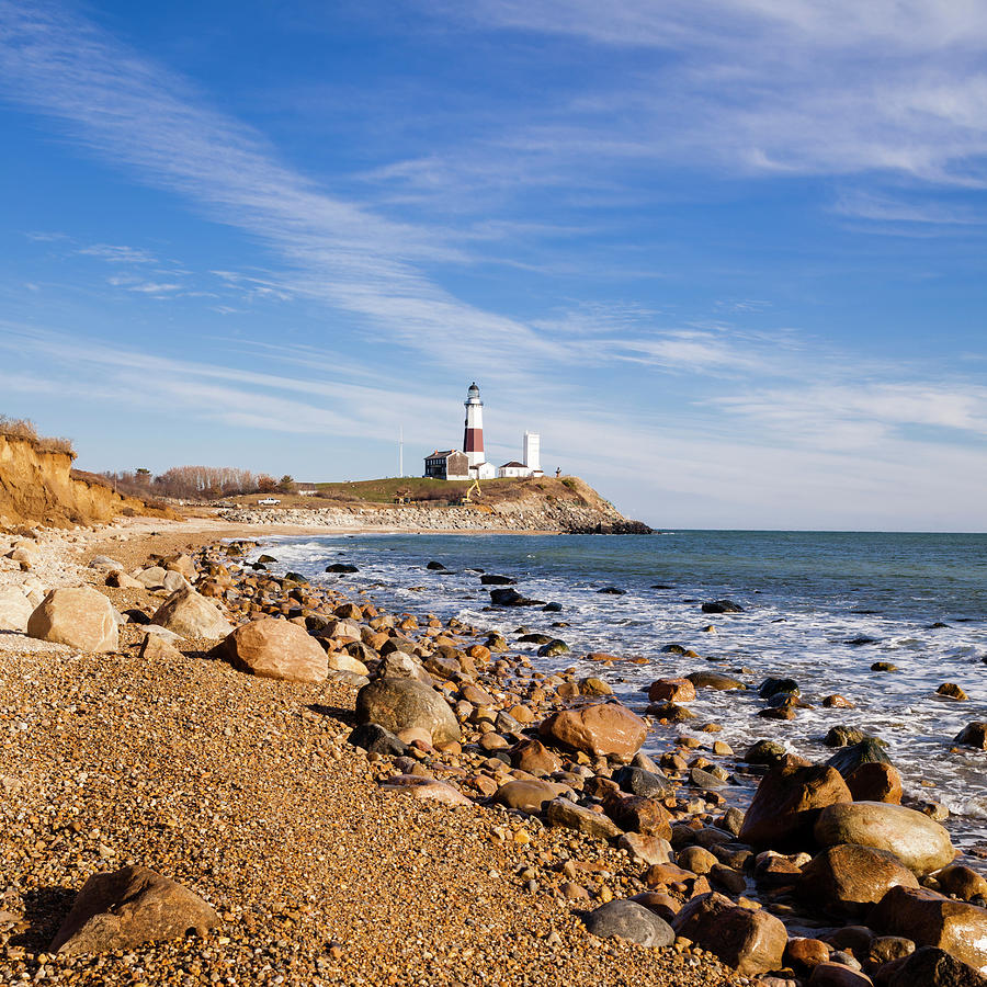 Lighthouse At Montauk Point, Long Photograph by Alex Potemkin