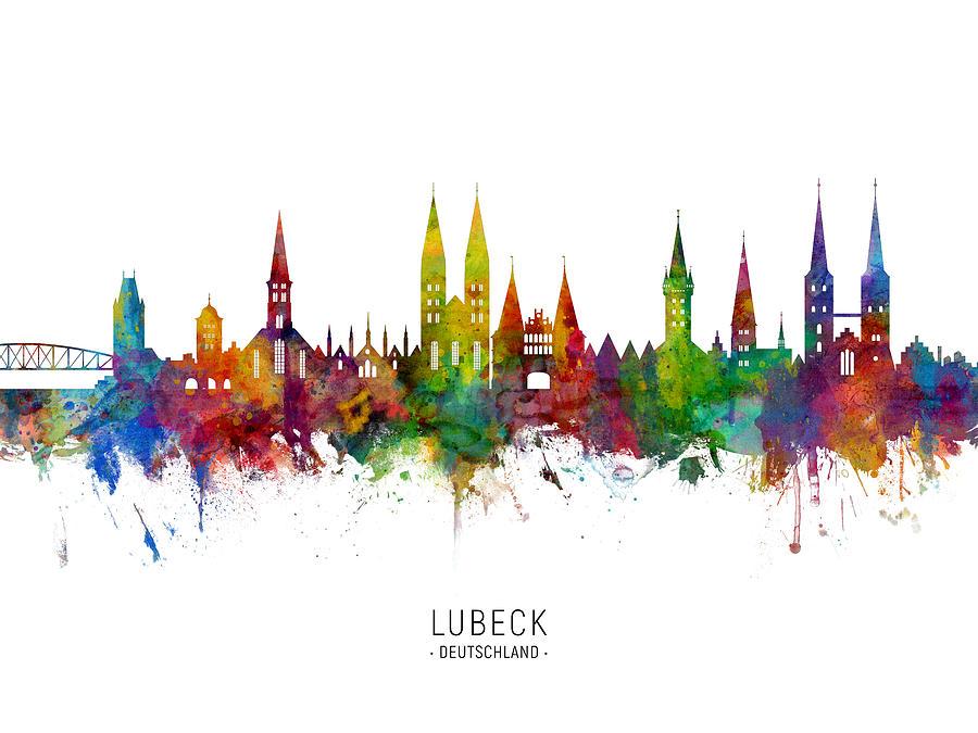 Lubeck Germany Skyline by Michael Tompsett