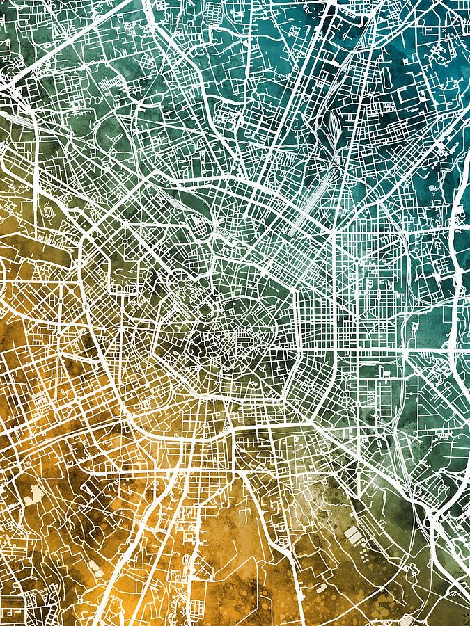 Milan Digital Art - Milan Italy City Map by Michael Tompsett