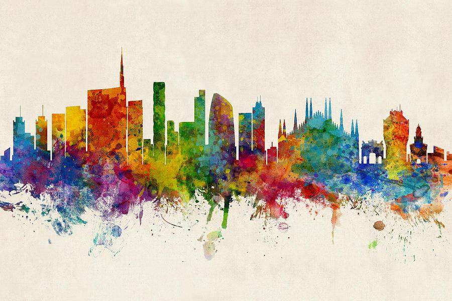 Milan Digital Art - Milan Italy Skyline by Michael Tompsett