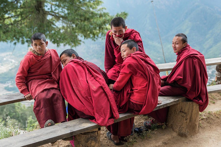 Bhutan Photograph - 5 Monks On A Break by Ian Robert Knight