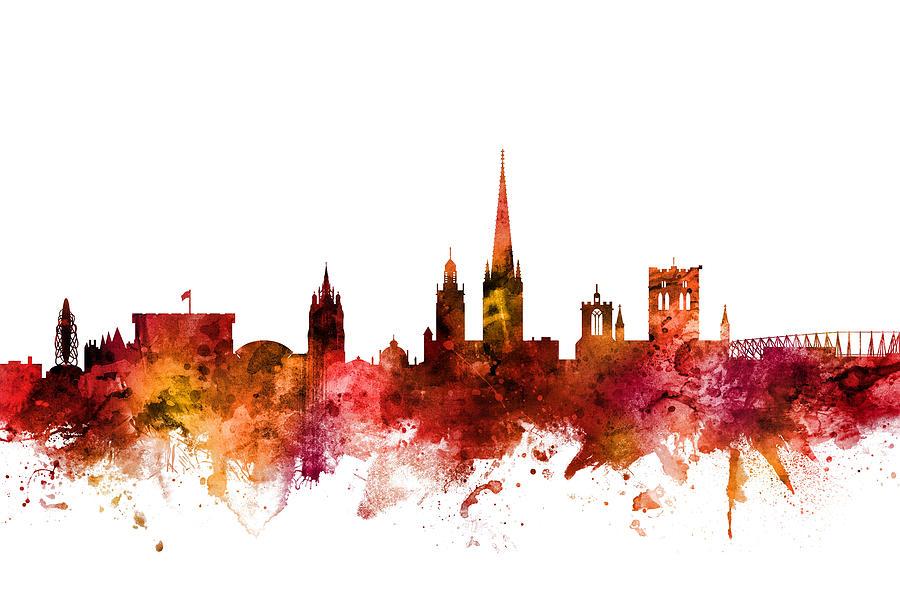 Norwich Digital Art - Norwich England Skyline by Michael Tompsett