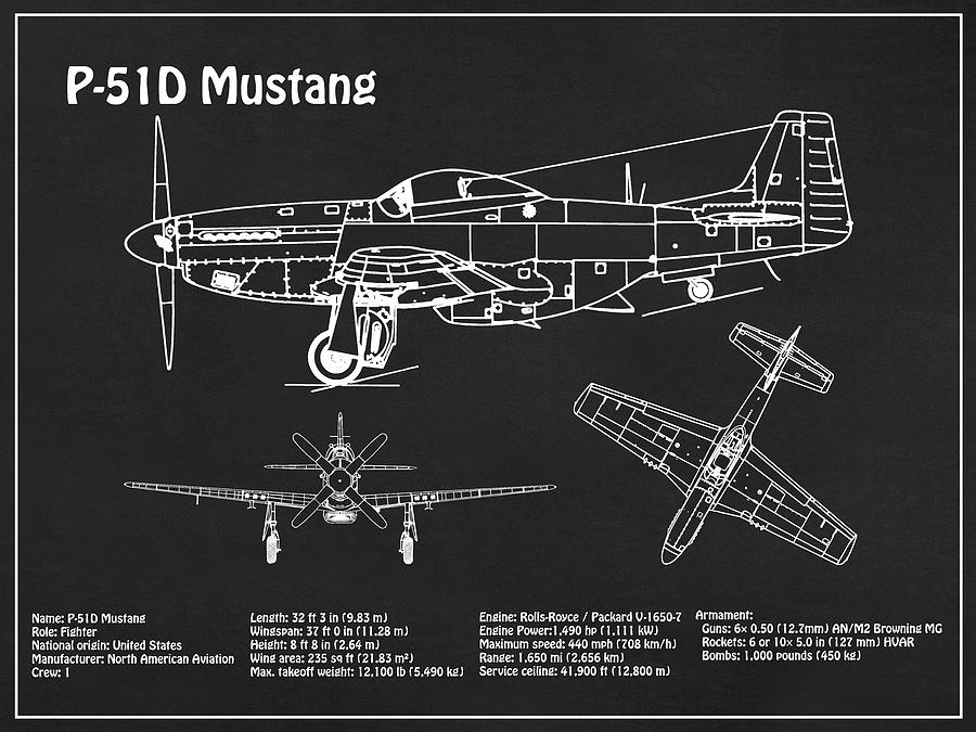 P-51d Mustang - Airplane Blueprint. Drawing Plans Outline For North