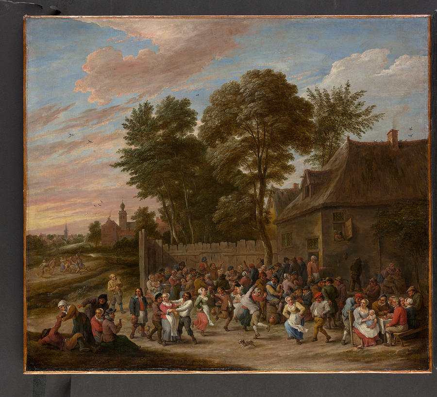 David Teniers The Younger Painting - Peasants Dancing And Feasting  by David Teniers the Younger