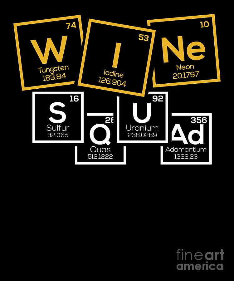 Gift Digital Art - Periodic Table Of Wine Alcohol Red White Wine Gift by TeeQueen2603