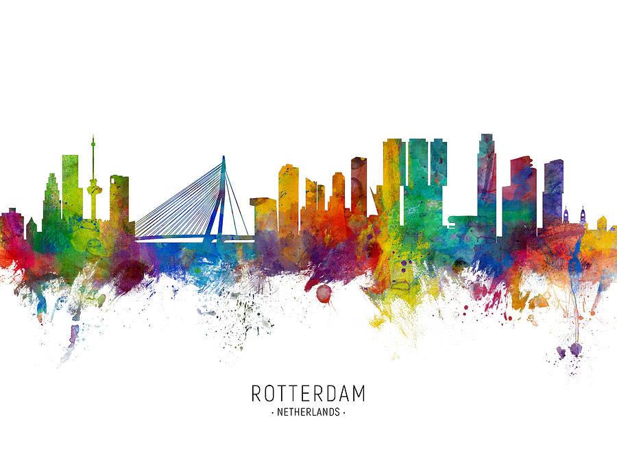 Rotterdam The Netherlands Skyline by Michael Tompsett