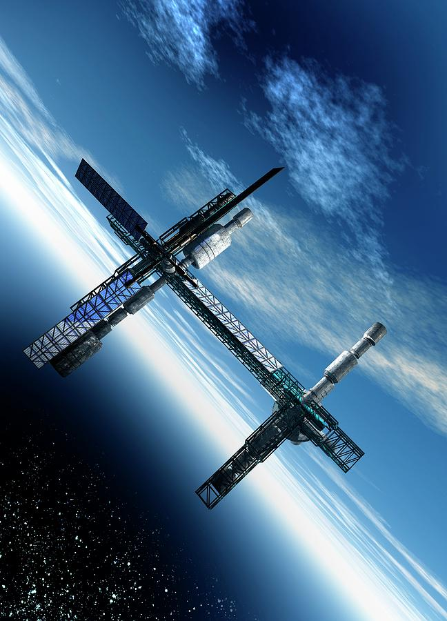 Space Station, Artwork Digital Art by Victor Habbick Visions