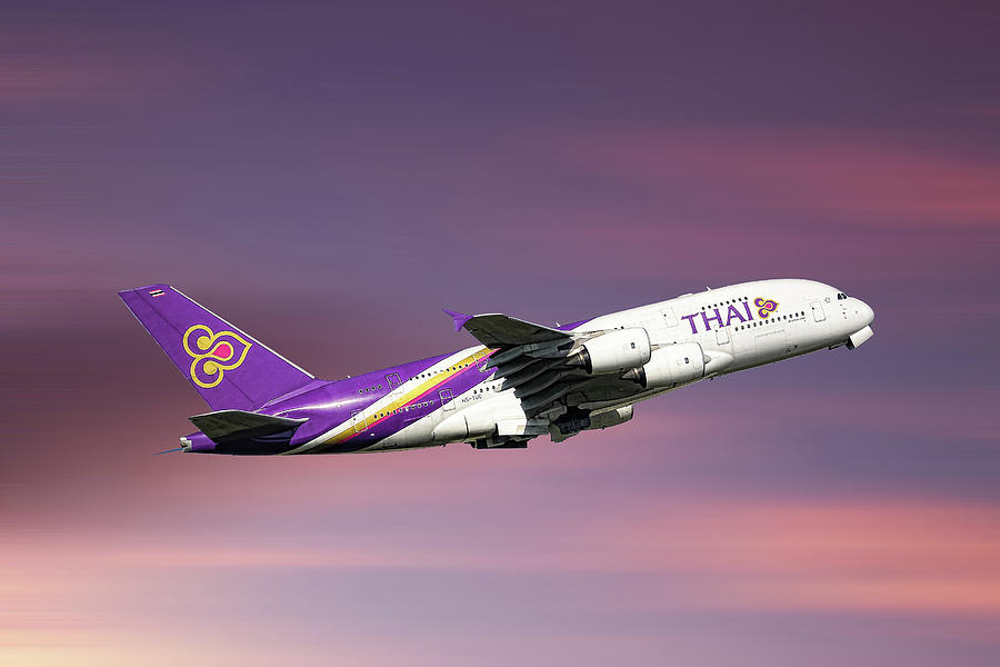 Thai Mixed Media - Thai Airways Airbus A380-841 by Smart Aviation
