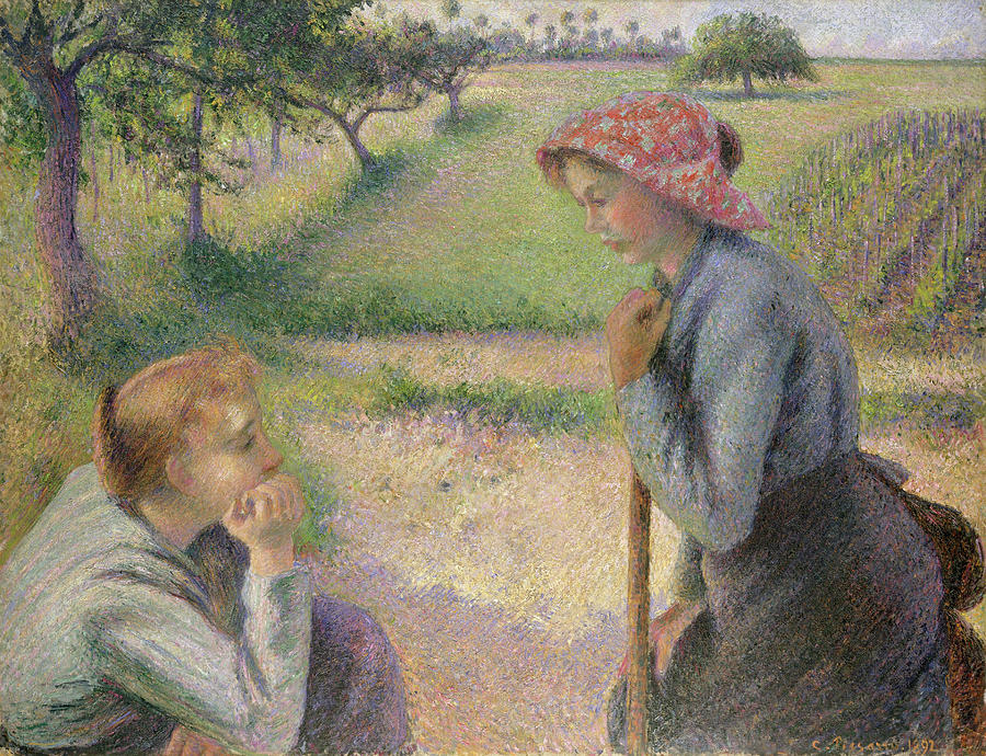 Two Young Peasant Women by Camille Pissarro
