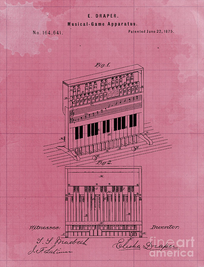 Vintage Musical Game Apparatus Patent Year 1875 Drawing