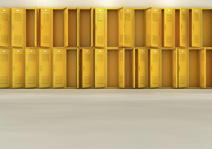 Locker Digital Art - Yellow School Lockers 5 by Allan Swart