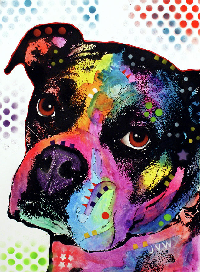 Domestic Dogs Mixed Media - Young Boxer by Dean Russo