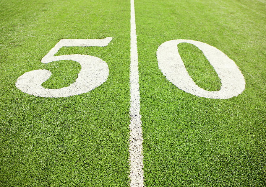 50 Yard Line On American Football Field Photograph by William Andrew