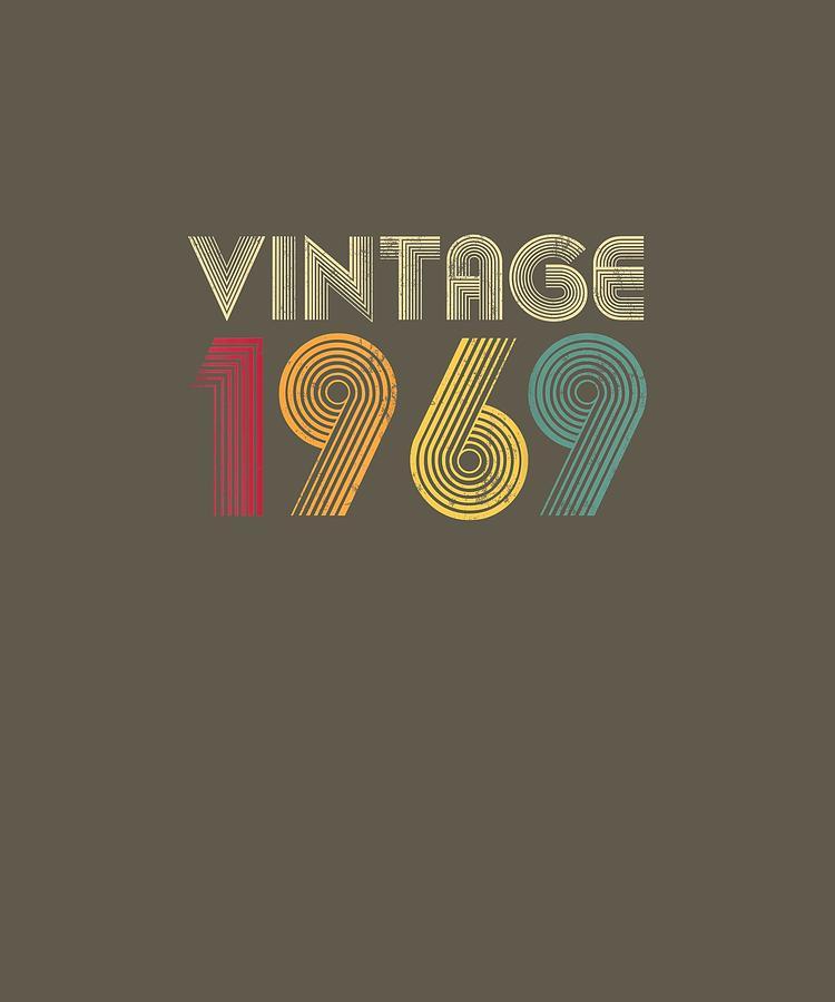50th Birthday T Shirt Gift Vintage 1969 Classic Men Women Digital