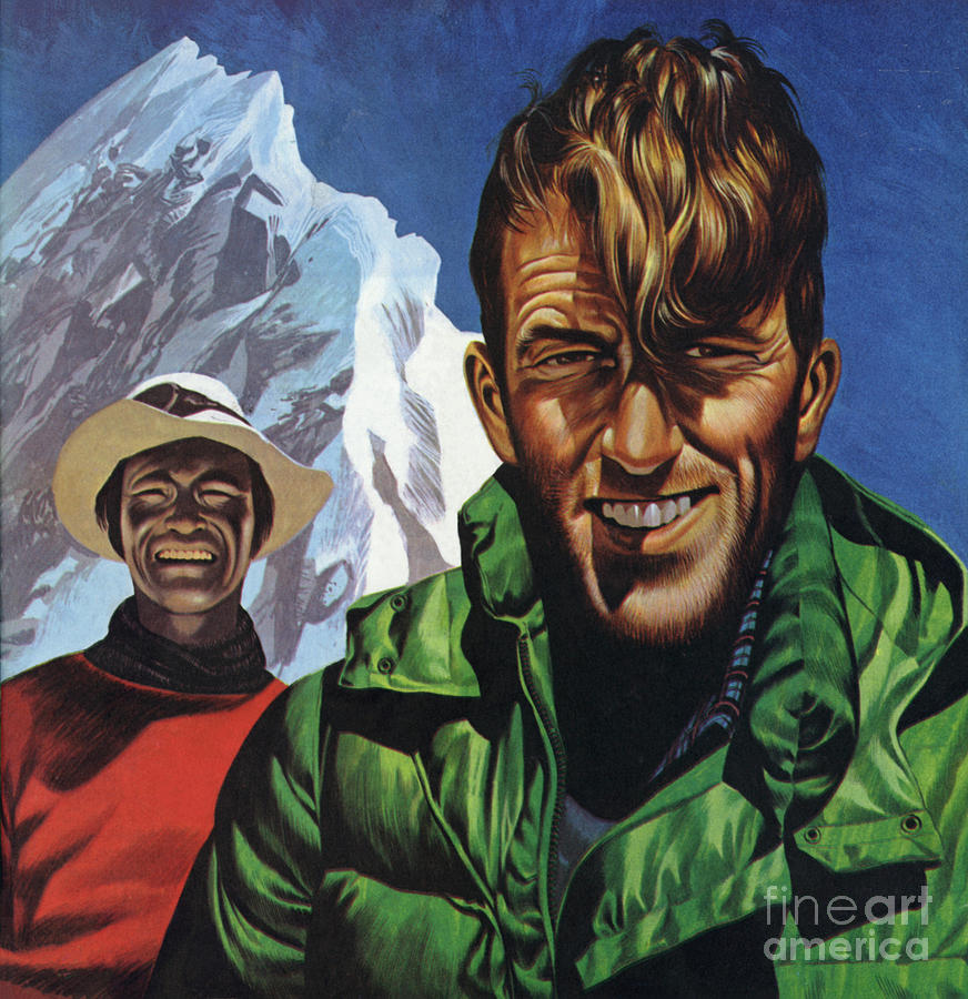 Mountain Painting - Hillary And Tensing In Front Of Mount Everest by Ron Embleton