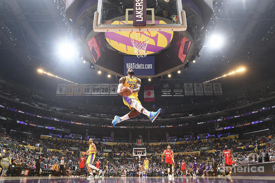 Lebron James Double-Clutch Reverse Dunk Tribute to Kobe Bryant Photograph by Andrew D. Bernstein