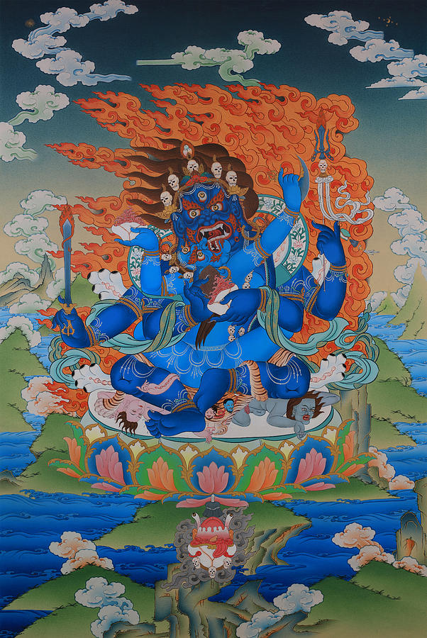 6-Armed Mahakala in Union Painting by Images of Enlightenment
