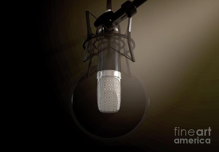 Microphone Digital Art - Dramatic Condenser Microphone 6 by Allan Swart