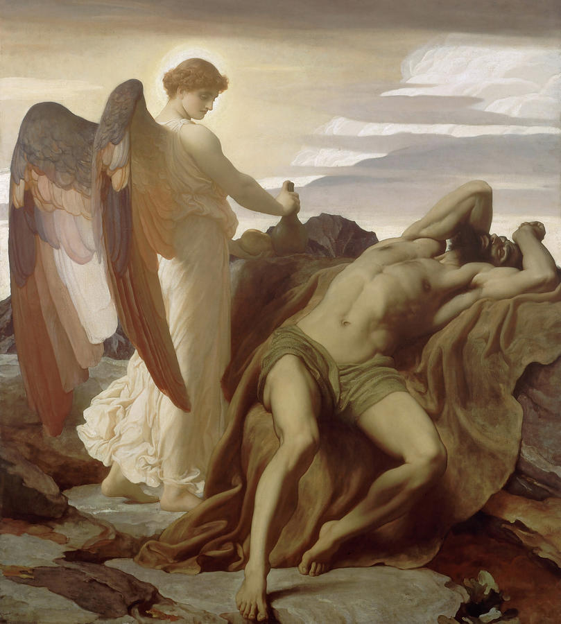 Frederic Leighton Painting - Elijah In The Wilderness by Frederic Leighton