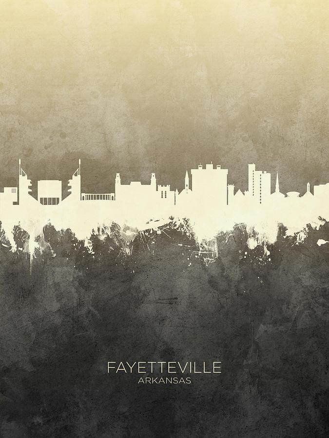 Fayetteville Digital Art - Fayetteville Arkansas Skyline by Michael Tompsett