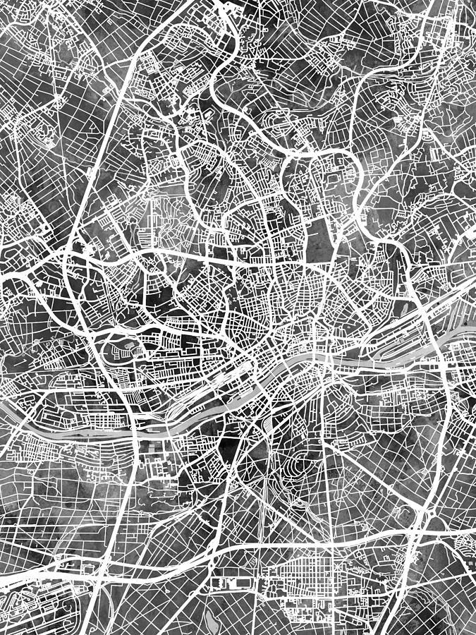 Frankfurt Digital Art - Frankfurt Germany City Map by Michael Tompsett