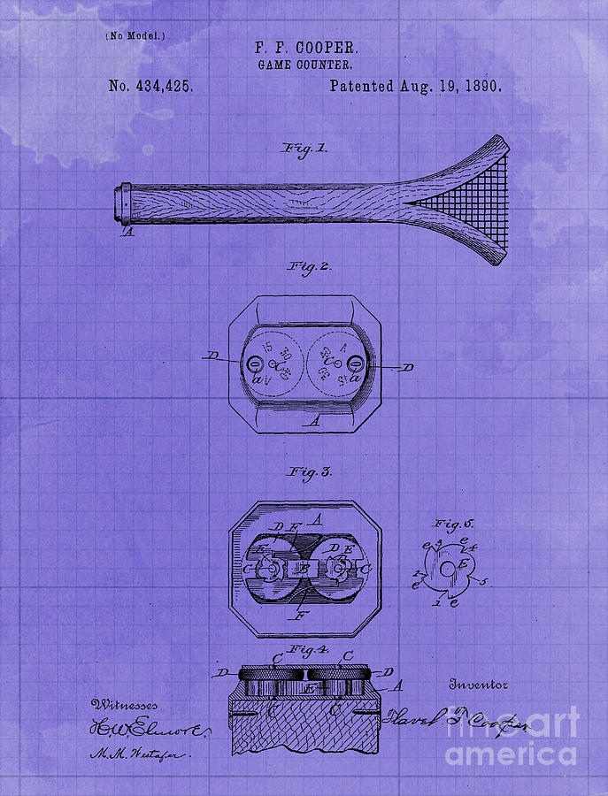 Game Counter Antique Patent Year 1890 Original Artwork Home Decoration Drawing