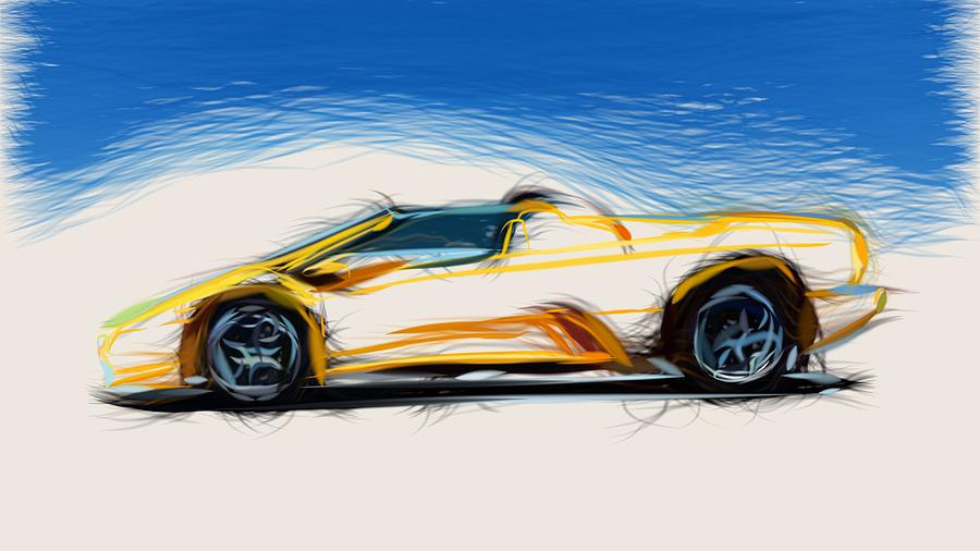 Lamborghini Diablo Roadster Draw Digital Art By Carstoon Concept