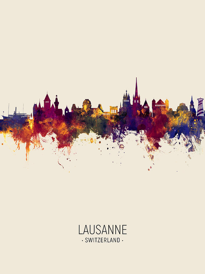 Lausanne Switzerland Skyline by Michael Tompsett