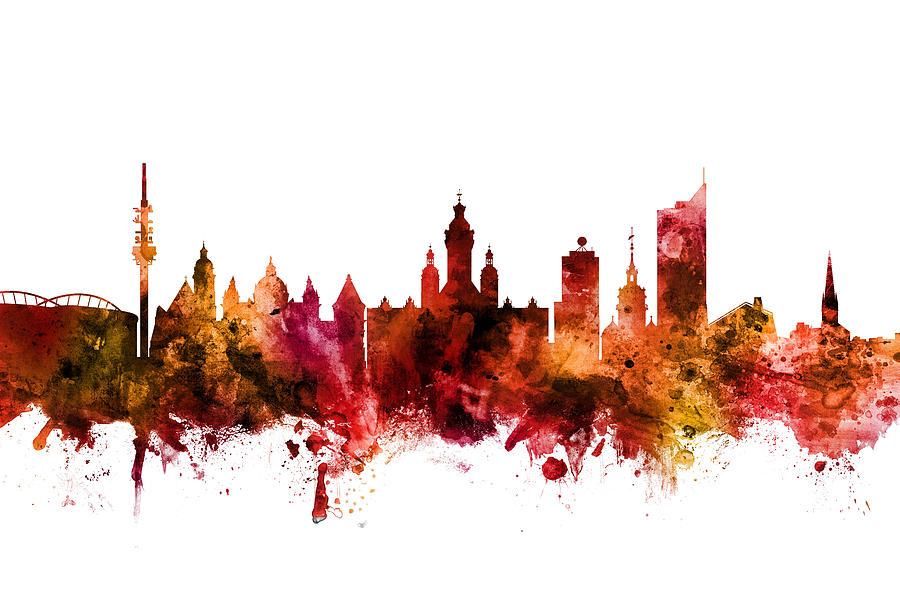 Leipzig Germany Skyline by Michael Tompsett