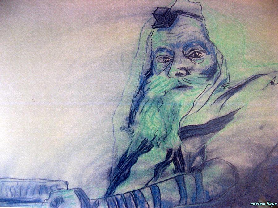 Lubavitcher Rebbe Drawing - Lubavitcher Rebbe by Miriam haya Elbaz