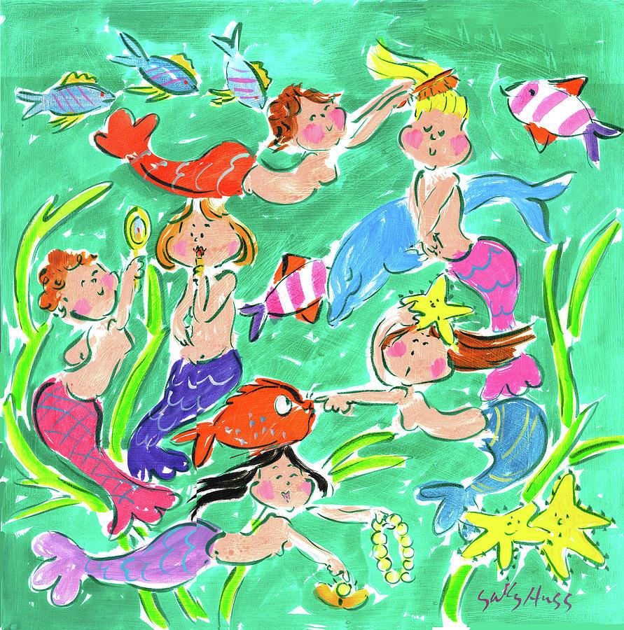 Mermaids Painting - 6 Pretty Mermaids by Sally Huss