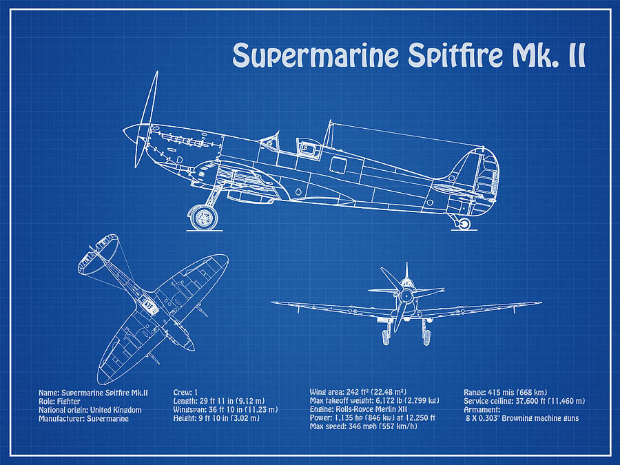 Supermarine Spitfire Mk Ii Airplane Blueprint Drawing Plans For Rhpixels: Spitfire Airplane Schematics Or Drawings At Gmaili.net