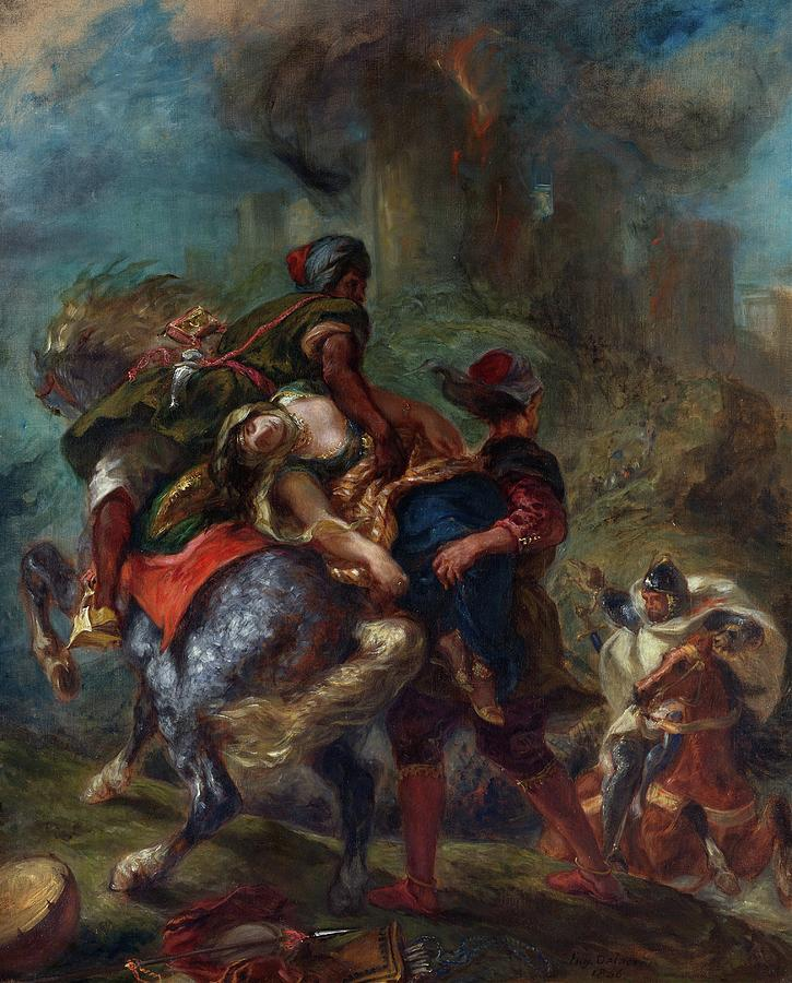 The Abduction Of Rebecca Painting - The Abduction Of Rebecca -  by Eugene Delacroix