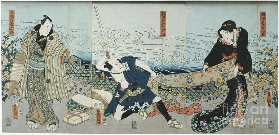Theatre Scene, 1844. Artist Utagawa Drawing by Print Collector