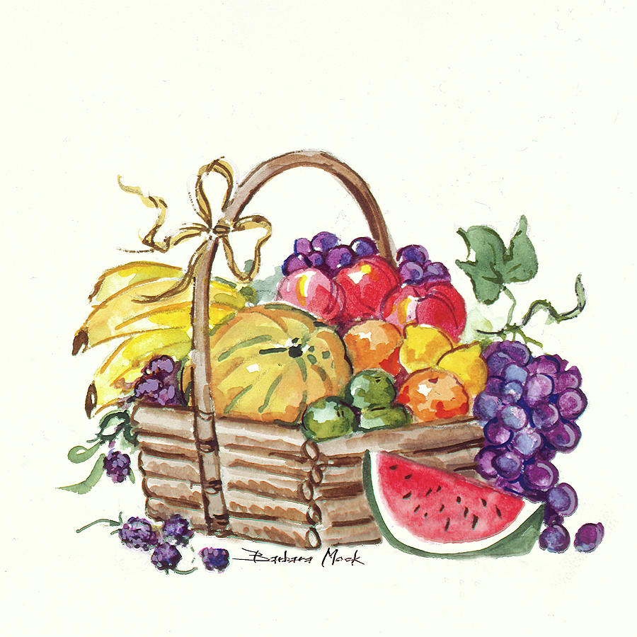601 Watermelon And Fruit Basket Painting By Barbara Mock