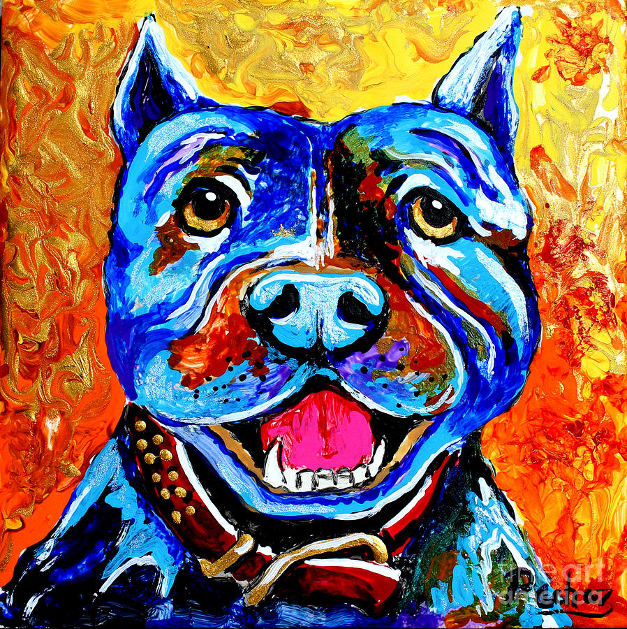 6x6 tile Pitbull in blue by Pechez Sepehri