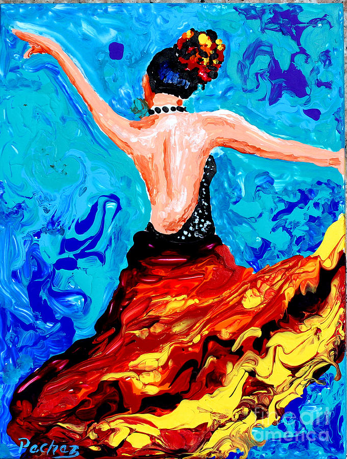 6x8 tile of Spanish Dancer by Pechez Sepehri