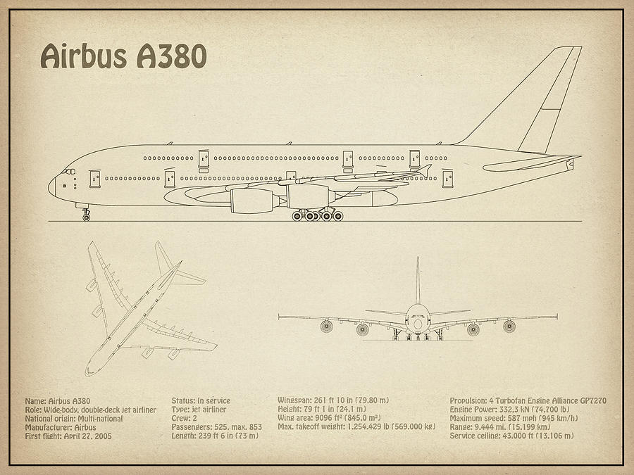 [XOTG_4463]  Airbus a380 - Airplane Blueprint. Drawing Plans or Schematics with design  outline for the Airbus a38 Drawing by StockPhotosArt Com | Airplane Schematics |  | Fine Art America