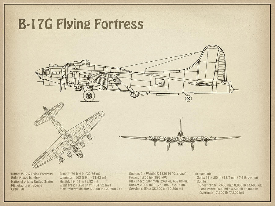 B-17 Flying Fortress - Airplane Blueprint  Drawing Plans For The Wwii  Boeing B-17 Flying Fortress by JESP Art and Decor