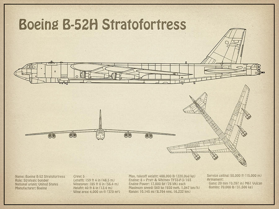 B-52 Stratofortress - Airplane Blueprint. Drawing Plans Or Schematics on