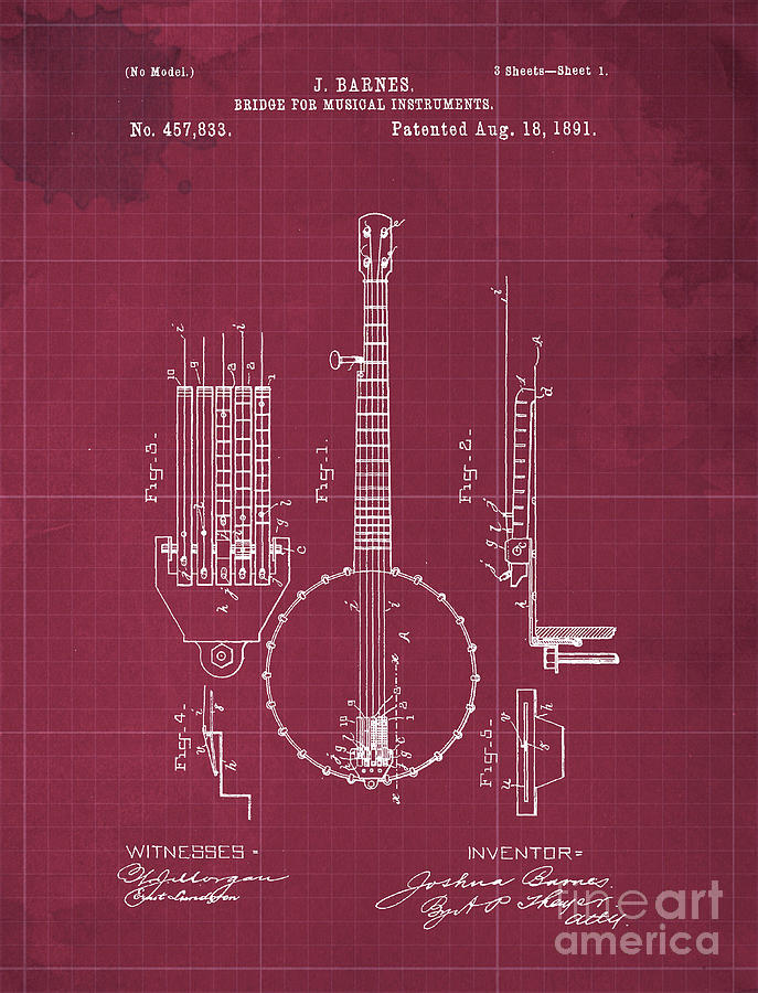 Bridge For Musical Instruments Patent Year 1891 Drawing