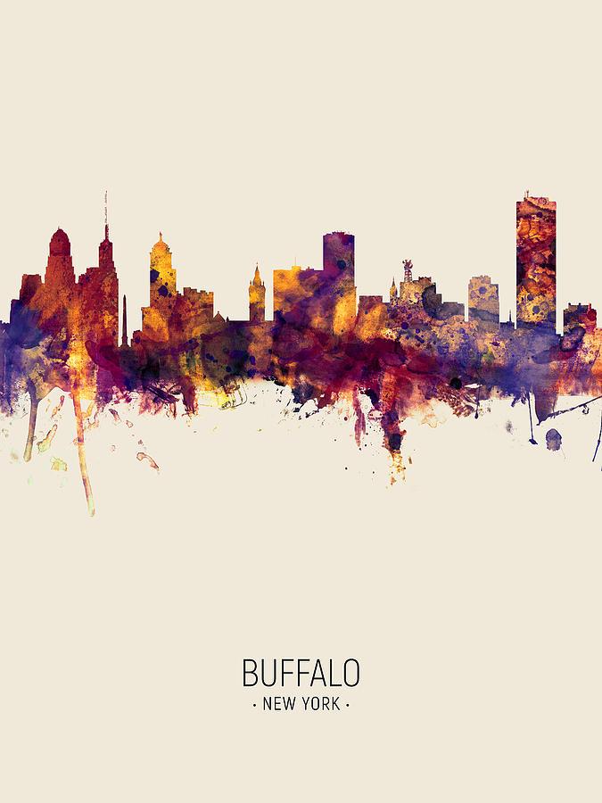 Buffalo Digital Art - Buffalo New York Skyline 7 by Michael Tompsett