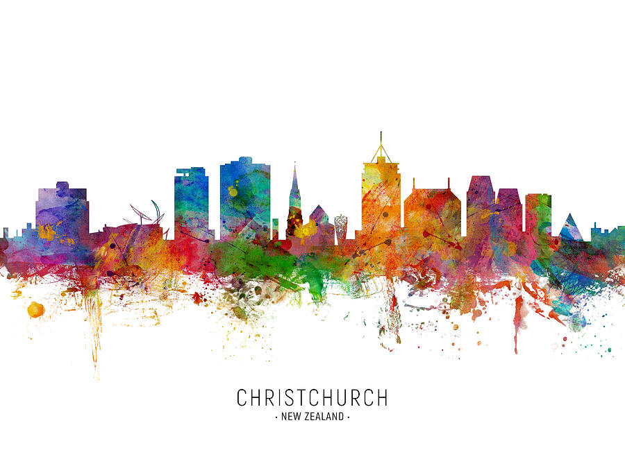 Christchurch New Zealand Skyline by Michael Tompsett
