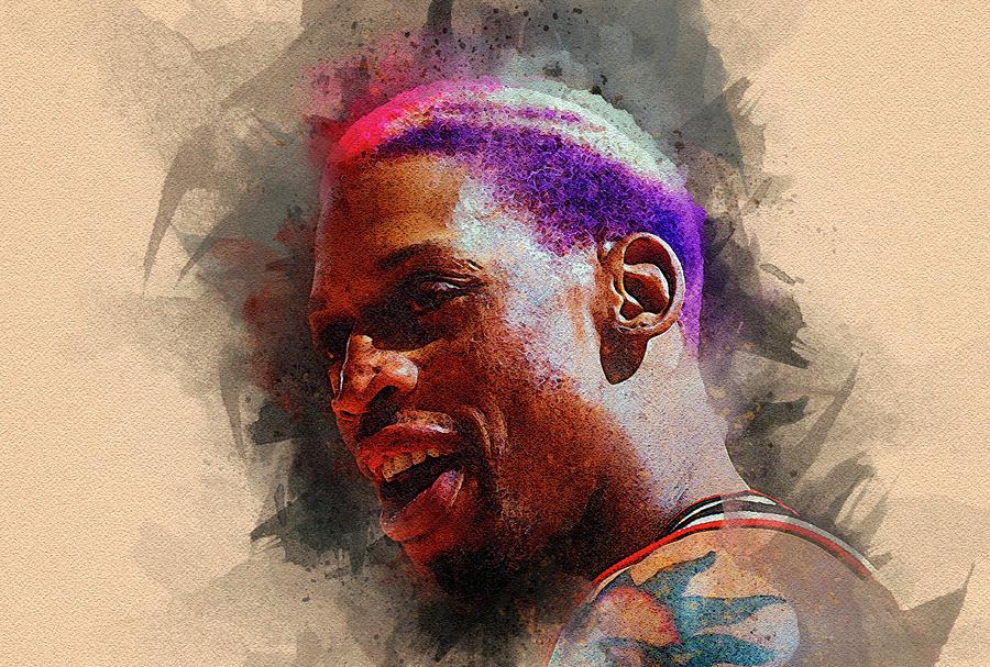 Dennis Rodman Digital Art - Dennis Rodman by Nadezhda Zhuravleva