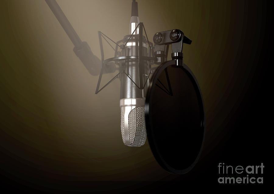 Microphone Digital Art - Dramatic Condenser Microphone 7 by Allan Swart