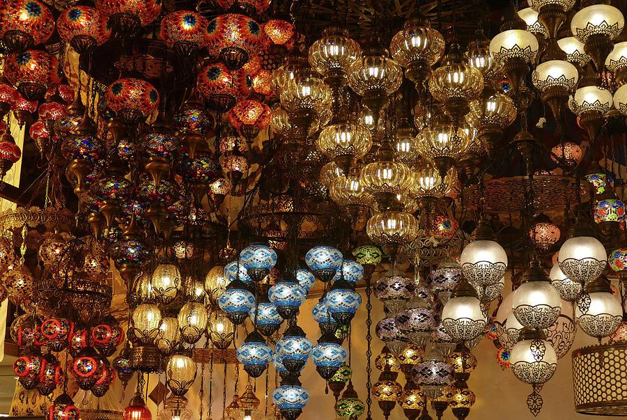 Exquisite glass lamps and lanterns in the Grand Bazaar  by Steve Estvanik